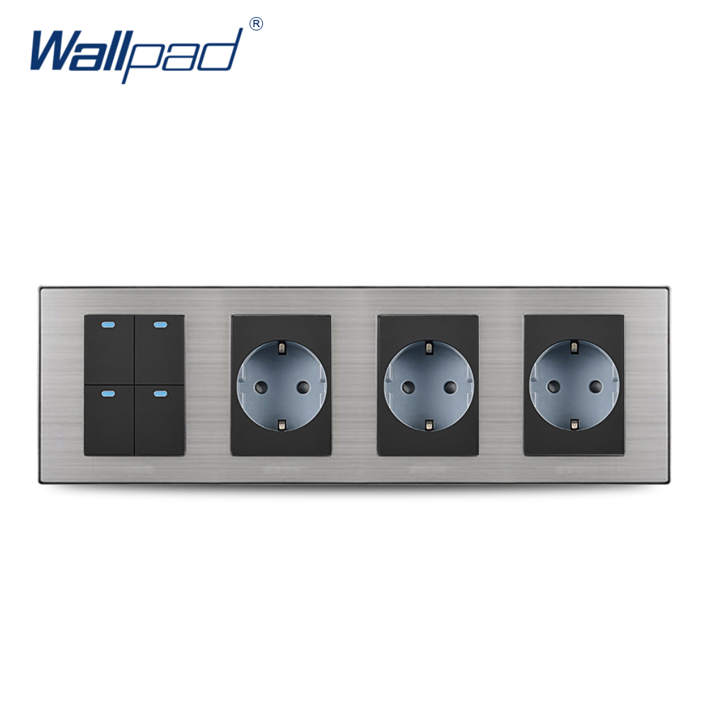 цена на 2018 Wallpad Hot Sale 4 Gang 2 Way Switch With 3 EU Socket Schuko Luxury Wall Electric Power Outlet German Standard 308*86mm