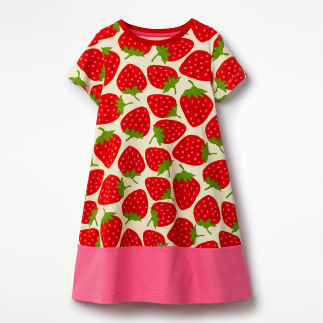 6c4094135 NEAT 2018 Girl Short Sleeve Dress Summer Cotton Cute Fruit Strawberry Print  Clothes Straight Girl's dress baby girl clothes 6849