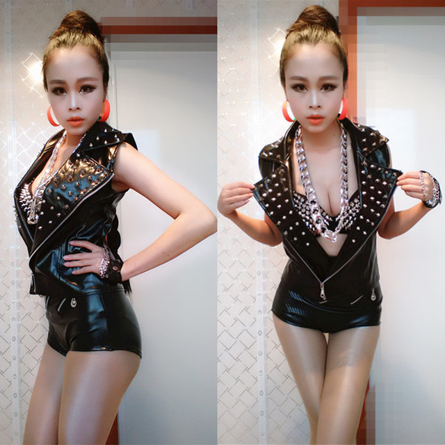 Female Hip Hop dance Outerwear Jazz top costume performance wear Sexy Rivet Stage clothing Faux Leather Vest