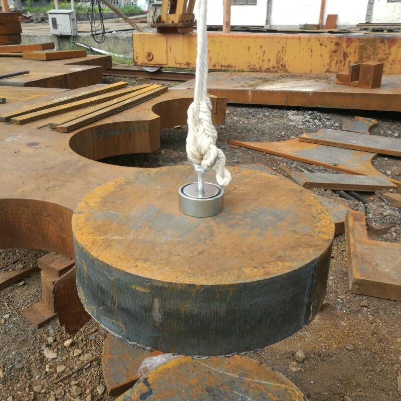 1 pz due lati 200 kg magnetico attirare superficie forte pull-forza di ricerca di rilevamento magnete pentola con un golfare