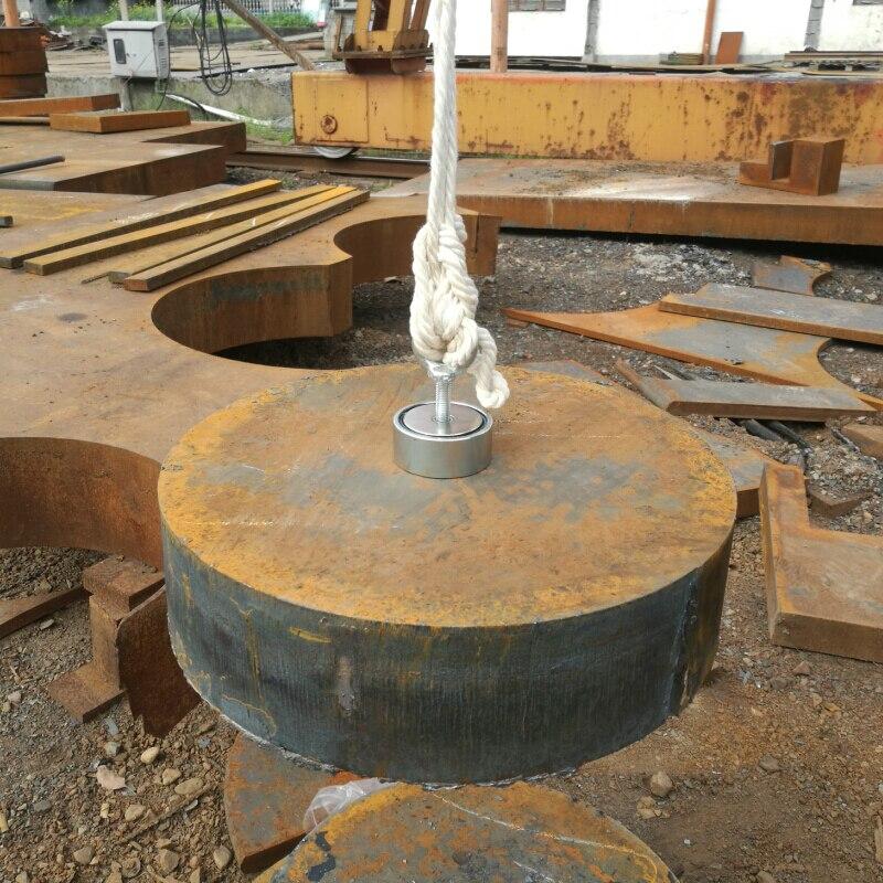 1 stücke zwei seiten 200 kg magnetische zieht oberfläche starke pull-kraft suche erfassen magnet topf mit einer ringschraube