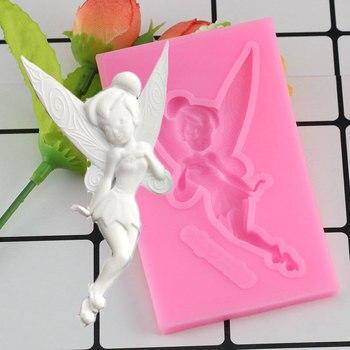 Mujiang kwiatową wróżkę anioł silikonowe formy Gumpaste czekolada glina foremki na słodycze narzędzia do dekorowania ciast masą cukrową DIY formy do pieczenia