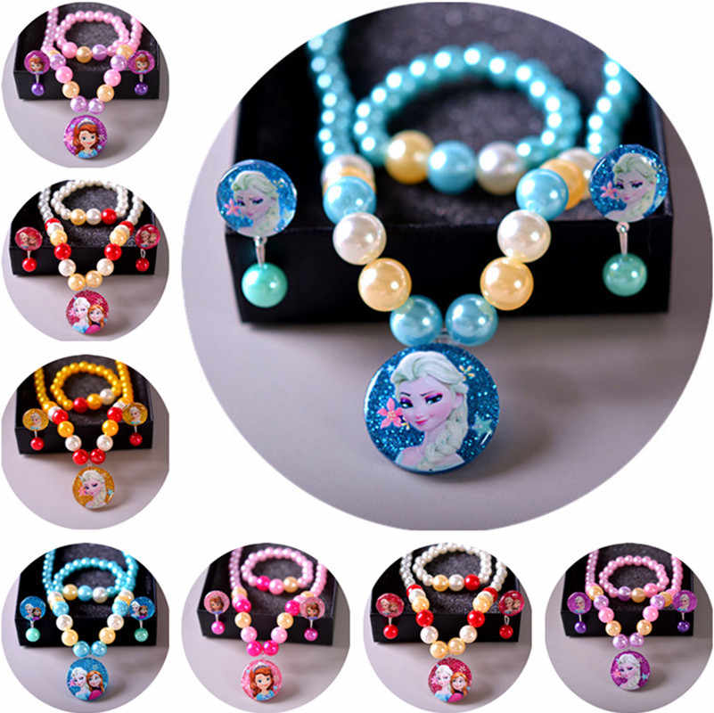 4pcs/lot Disney cartoon Frozen children necklace+bracelets+clip earring girl birthday gift sweater doll accessories cosmetic toy