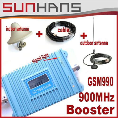 Marketing direto Sunhans reforço de sinal GSM 900 Mhz telefone Celular impulsionador Cobertura 3500 quadrado + interior, antena externa + 10 m cabo de 1 lotes
