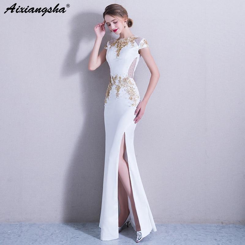 2018 Vintage White Golden Mermaid   Evening     Dress   Elegant Beading Sequined Appliques   Evening   Gown Vestido Longo Party   Dress   Long