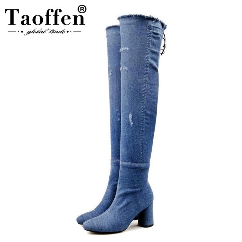 Donna Sopra Da Dark Alti Laterale Scarpe Taoffen Blue Blue Coscia Di Caldo  Denim Tacchi Spessore 43 Delle ... 164fd1c024c