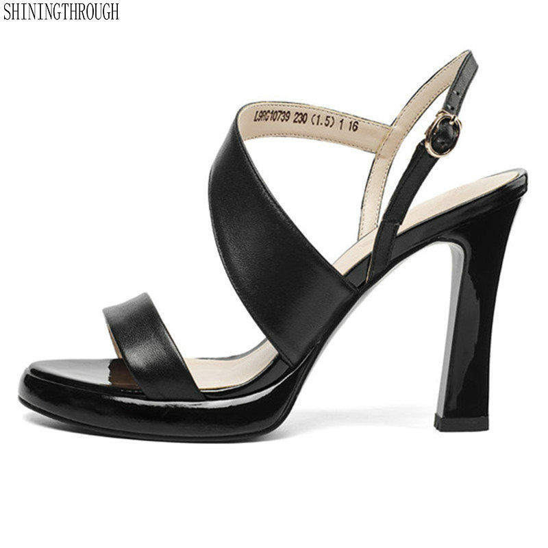 office ladies dress shoes woman genuine leather super high heels ladies sandals 2019 summer cross strap woman sandals