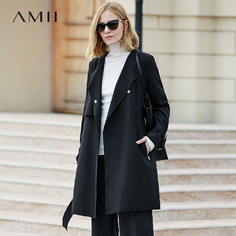 Amii Women Office Lady 2019 Autumn   Trench   Coat Plus Size Chic Original Design Belt with Double Breasted Female   Trench   Coats
