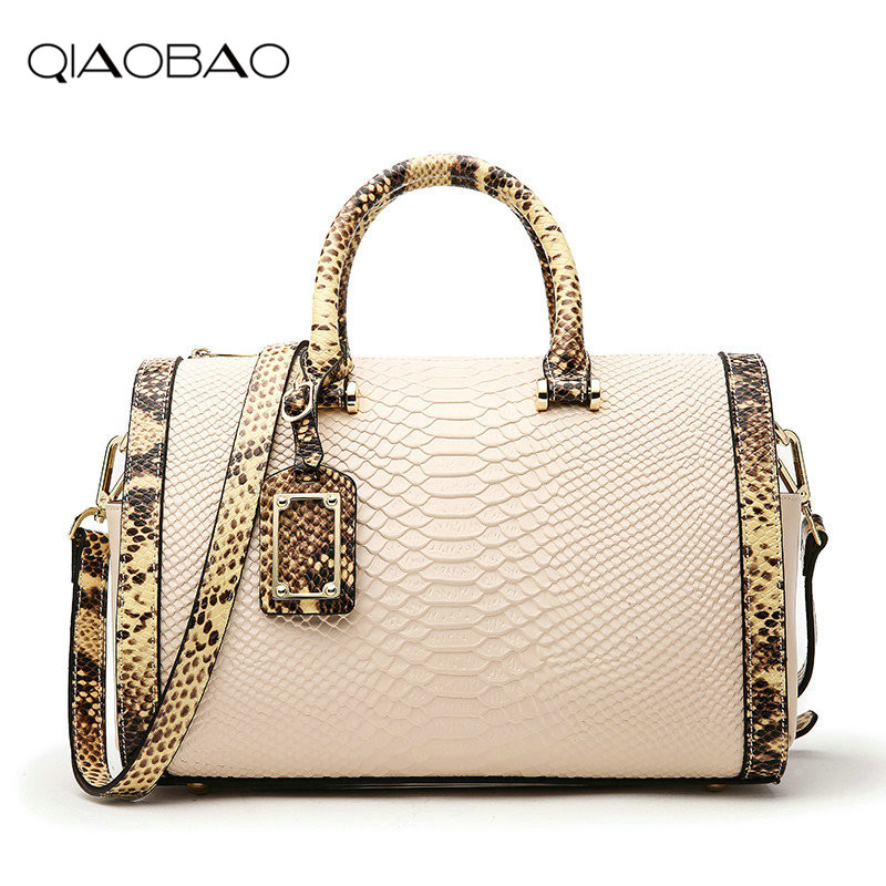 QIAOBAO Brand Women 100% Genuine leather bags Boston handbag shoulder bag snake pattern Messenger bag Satchel Shoulder Bag