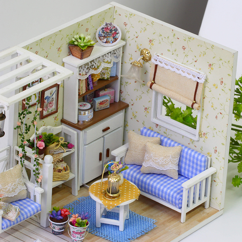 New-Doll-House-Furniture-Kits-DIY-Wood-Dollhouse-miniature-with-LEDFurniturecover-Doll-house-room-HB-3
