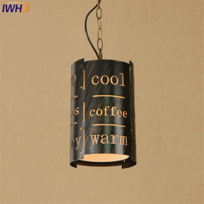 Nordic Iron Letter Droplight Loft Style LED Pendant Light Fixtures For Dining Room Hanging Lamp Vintage Industrial Lighting