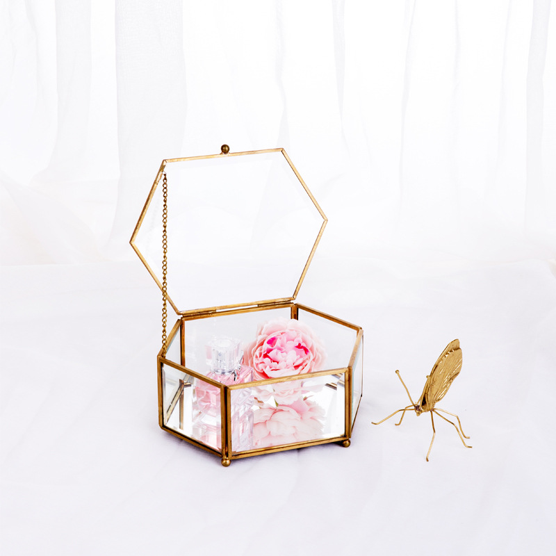 Jewelry Box Hexagonal Open Cover Glass Geometric Flower Room Mirror Jewelry Storage Box Eternal Flower Decoration Box Crafts
