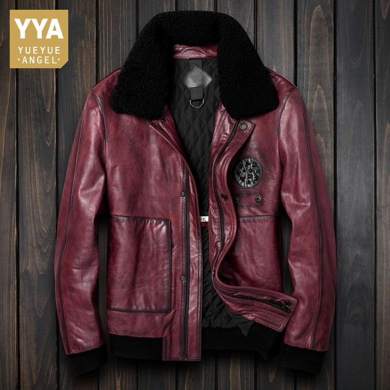 Autumn Motorcycle Steampunk Genuine Leather Jacket Men Sheepskin Coats Vintage Slim Real Leather Moto Biker Jackets Winter Male