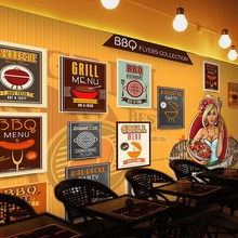Free Shipping Grilled barbecue grill 3D mural hot pot shop barbecue restaurant restaurant decoration modern wallpaper mural