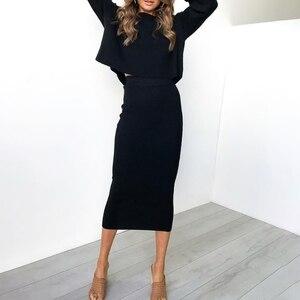 Image 2 - Damska Bodycon długa spódnica wysokiej talii obcisłe długie spódnice Club Party ołówek Casual W729