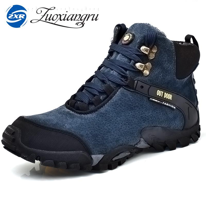 Waterproof Hiking Boots Genuine Leather Waterproof Hiking Shoes Outdoor Breathable Men Winter Boots For Walking Trekking 2017 new autumn winter british retro men shoes zipper leather breathable sneaker fashion boots men casual shoes handmade
