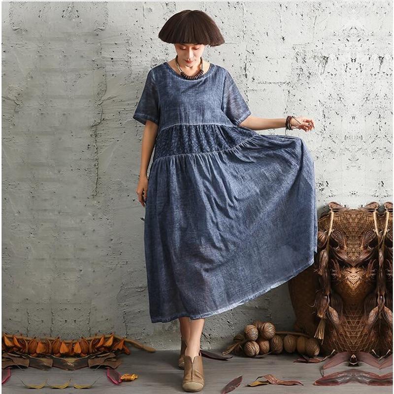Été femme patchwork impression coton lin à manches courtes robes femmes lâche taille haute imprimé vintage décontracté lin longue robe