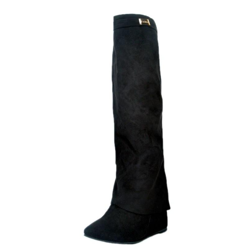 Weibliche Knie Schuhe 12 Schwarzes Für Kappe Heels Plus Booties Stiefel Runde Winter Frauen Schwarz 2017 Flache Faux Wildleder Größe PqTtS