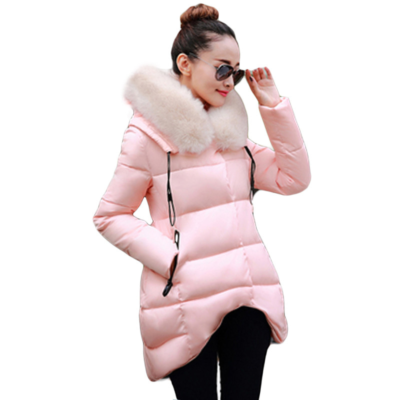 manteau femme 2016 New Winter Jacket Women Hooded Large Fur Collar Women Jackets and Coats Thick Warm Female Wadded Jacket  W046 cheap l 5xl winter jacket women faux fur hooded thick large size womens jackets female coats ladies parkas manteau femme hiver