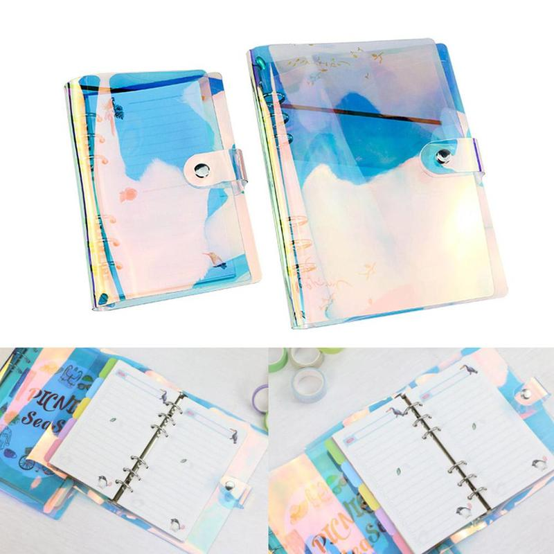 A5 A6 A7 Pvc Rainbow Laser Transparent Notebook Diary Planner Cover Glitter Loose Leaf Note Book Planner Clip Office SuppliesA5 A6 A7 Pvc Rainbow Laser Transparent Notebook Diary Planner Cover Glitter Loose Leaf Note Book Planner Clip Office Supplies