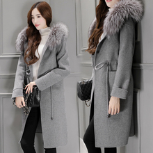 Women's Wool Coat Outwear Blends New Trenches Winter Autumn 2016 Fashion Female Overcoat Hood Fox Collar With Belt Long