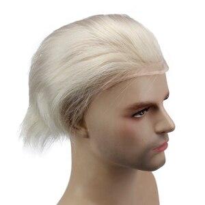 Image 3 - #60 блонд человеческие волосы для мужчин моно прозрачный кружевной парик с кожей ПУ около 8X10 кружевной топ европейские волосы Remy Eseewigs