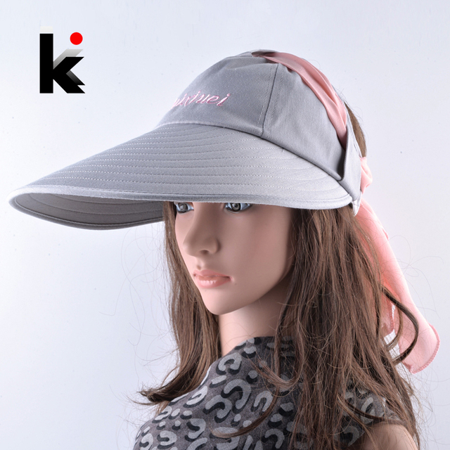 b545d455bee Women Sun Hat Summer Ponytail Cap Wide Brim Beach Caps Lady Seaside  Vacation Romantic Sun Protection Hats Solid Chapeau Femme