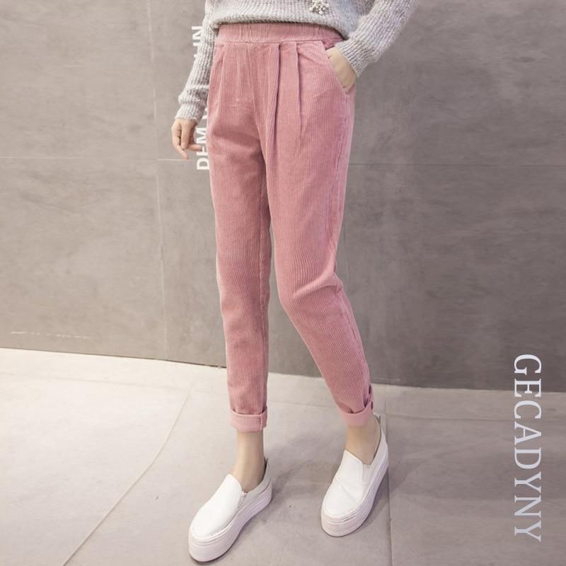 Best buy ) }}2018 New spring autumn corduroy pants loose slim pocket Korean harem pants women