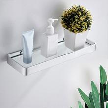 Aluminum Bathroom Storage Basket No-Drilling Toughened Glass Single Layer Restroom Shower Shelf Tier Shelves