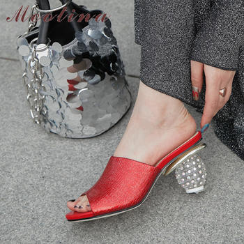 Meotina Women Slippers Summer Shoes Natural Genuine Leather Strange Style Heels Shoes Rhinestone Open Toe Slides Lady Sandals 39