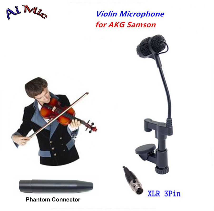 Top Gooseneck Instrument Microphone Music Violin Microfone Transmitter with Mini XLR 3pin for AKG Samson Wireless System Mic цена