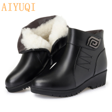 цены Women Ankle Boots 2019 New Genuine Leather Female Snow Boots Big Size Thick Wool Boots Women Non-slip Flat Mother Winter Shoes