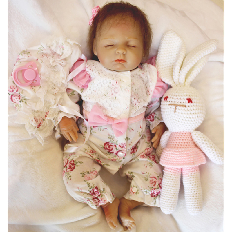 18inch 42cm Reborn Babies Doll Soft Silicone Magnetic Lovely Lifelike Cute Boy Girl Toy Bonecas bebe Reborn Gift Stuffed Rabbit 52cm reborn babies blue eyes magnetic mouth soft touch silicone doll reborn boy girls toys bear plush doll bebe gift reborn