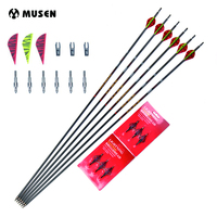 """Spine 350 Length 31"""" MAK Carbon Arrow 6/12/24pcs Arrows with OD7mm 2 Red 1 Yellow Feature for Compound/Recurve Bow Hunting