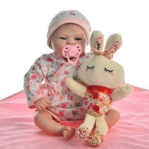 Image 2 - Muñeca de juguete Reborn de 17 pulgadas para niños, juguete de muñeca realista de juguete, de silicona suave, cuerpo de tela Reborn renacido