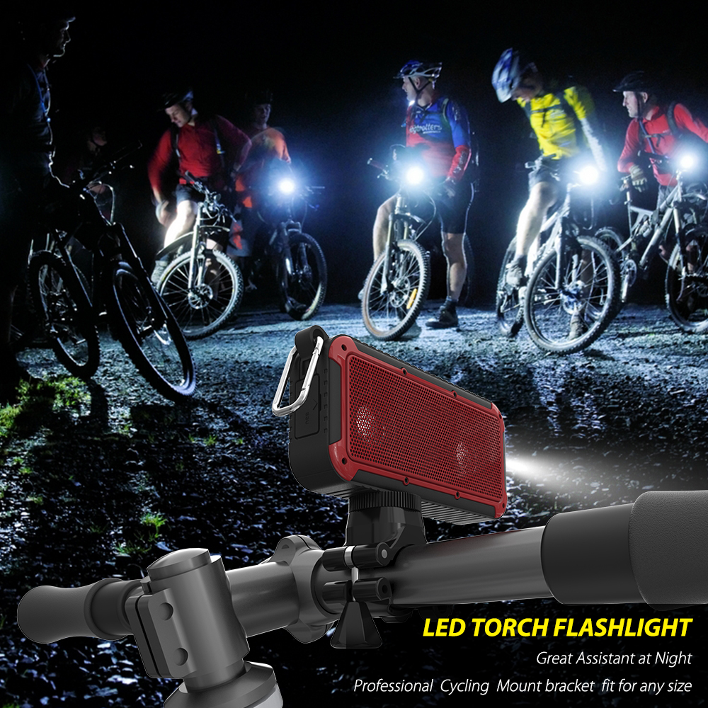 New bee Outdoor Portable Waterproof cycling Wireless Bluetooth Speaker Bike Soundbar with Microphone NFC Bicycle <font><b>Mount</b></font> LED