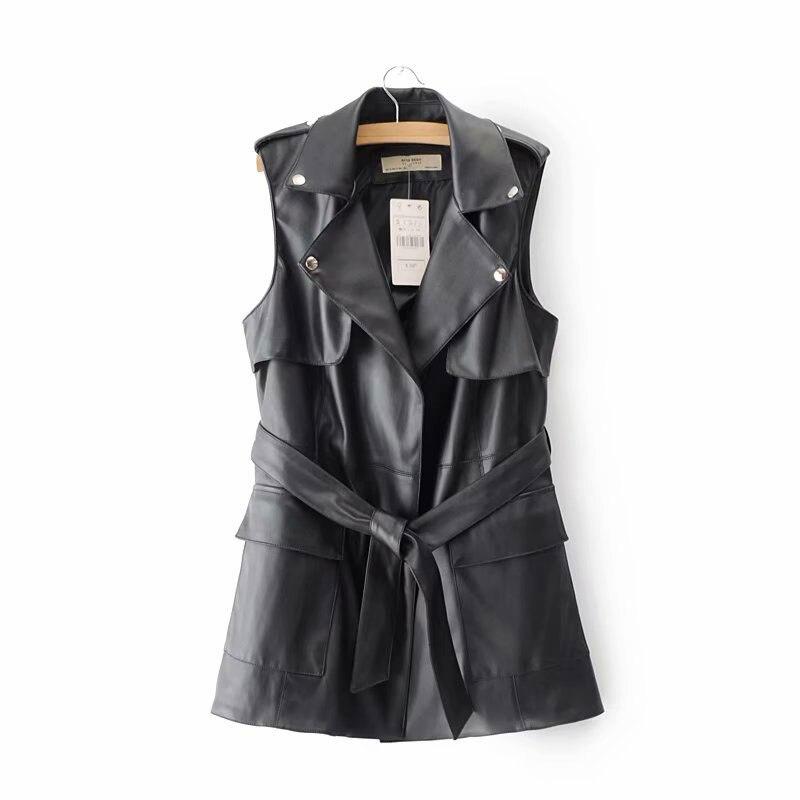 Women's Faux Sleeveless Leather Jacket PU Long Leather Vest Autumn Winter Biker Jacket Tops Female Waistcoat Motorcycle Coat