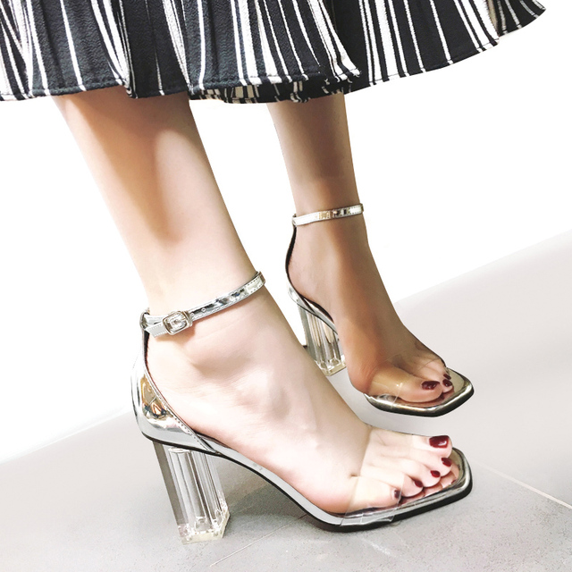 b04c100e813 US $23.1 |Women Sandals Crystal Slippers Slides Super Block High Heels  Summer Sexy Clear Transparent Clear Heel Women Shoes party Sandals-in High  ...