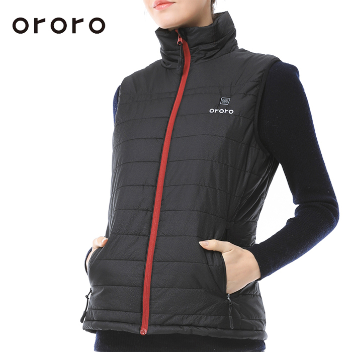 ORORO Women Down Vest Electric Battery Heated Sleevless Tops Windbreaker Waterproof Bodywarm Fleece Jacket Winter Vest Black