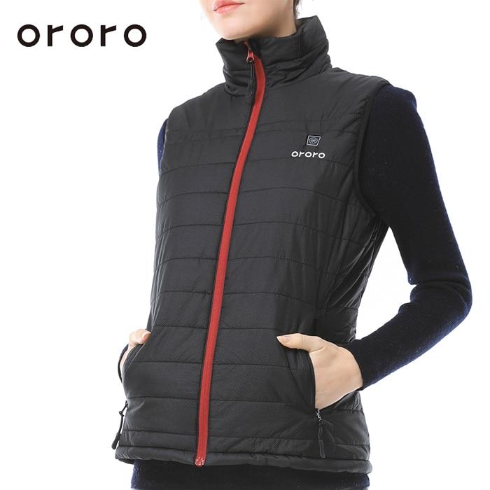ORORO Women Down Vest Electric Battery Heated Sleevless Tops Windbreaker Waterproof Body ...