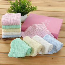 Six layers of gauze cotton square towel Children Fold a handkerchief Plain printed saliva