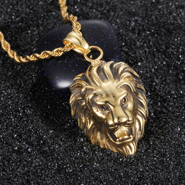 Classical jewelry gift large stainless steel biker gold lion heads classical jewelry gift large stainless steel biker gold lion heads king pendant mens necklace with aloadofball Choice Image