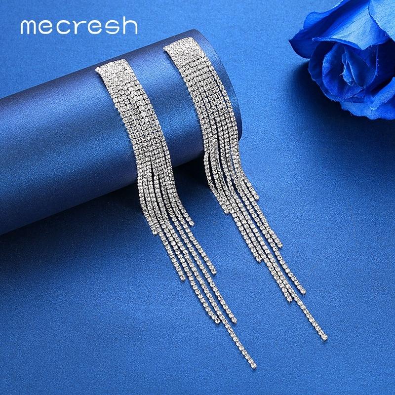 Mecresh Luxury Big Long Tassel Dangle Drop Earrings for Women Crystal Rhinestone Hanging Wedding Korean Earrings 2020 EH1003