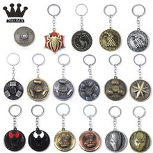 Fashion Avengers Game of Thrones Round Keychain Pendants Vintage Wolf Head Thor Hammer Thanos Mask Figure Rotate Toys Chain Men(China)