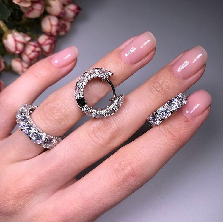 New Arrival Luxury Wedding Jewelry Set Fine Jewelry 925 Sterling Silver Full Cubic Zircon Hoop Earring