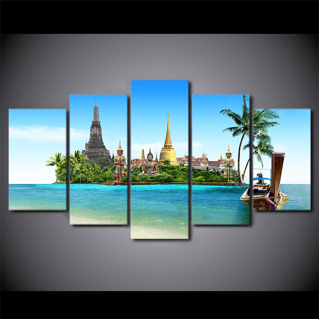 Modular Paintings Home Decor Frame Hd Printed Canvas 5 Pieces Tropical Island Pictures Wall Art Thailand