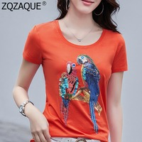 New Women Cotton T-Shirts Luxury Beading Sequins Parrot Pattern Lady's All-Match Trendy Tops Casual Knitted Shirts 4XL Plus Size