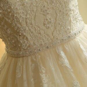 Image 5 - SL 023 urocze Sweetheart aplikacja z koronki Vintage perły koraliki pas suknia ślubna suknia ślubna vestido de novia princesa