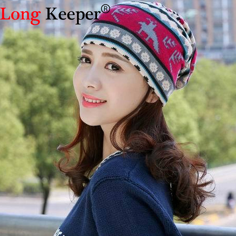 10d43e8b3 US $2.47 40% OFF|Long Keeper Vintage Women Snow Beanies 3 Colors Ethnic Hat  Spring Women Beanie Autumn Winter Hats Multifunction Scarf Caps-in Women's  ...