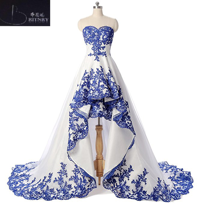 Elegant White Satin Wedding Dress With Blue Lace Sweetheart A Line High Low Dress-in Wedding Dresses from Weddings & Events    1